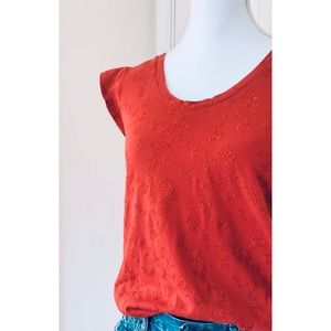 LOFT | Red Floral Embroidery Cap Sleeve Top